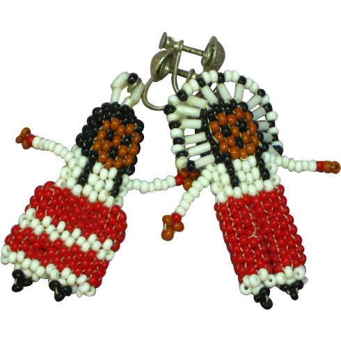 50% OFF SALE Native American Indian Early  Hand Made Seed Bead Dolls Sterling Silver Screwback Earrings