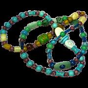 "African Trade Beads Art Glass Long 36"" Glass Necklace"