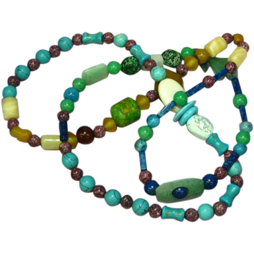 "African Trade Beads Art Glass Long 36"" Glass Necklace"