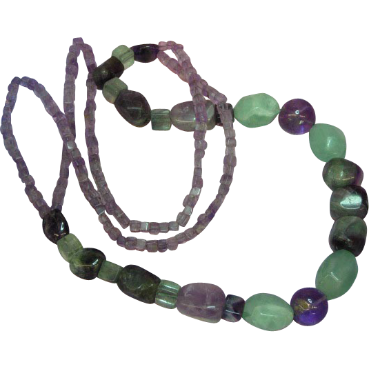 "50% OFF SALE Gemstones Gorgeous  Aventurine Amethyst  26""  Necklace"