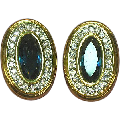 50% OFF SALE  Swarovski Marked Swan Logo High Quality Real Gem Look Clip Earrings