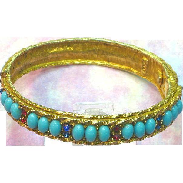 Art Signed Faux Turquoise,Rhinestones,Clamper Bracelet
