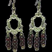 50% OFF SALE Sterling Silver Garnet Gemstones Bead Dangle Pierced Earrings