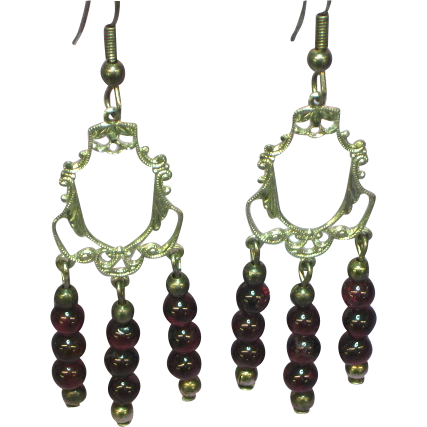 50% OFF SALE Sterling Silver Garnet Gemstones Bead Dangle Pierced Earrings