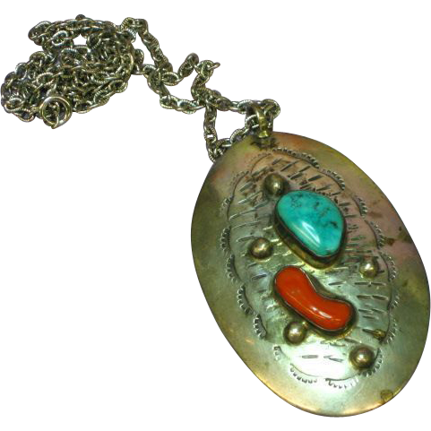 Native American Indian,Coral and Turquoise, Sterling Silver Large Pendant