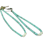 Native American Indian Pueblo Hand Rolled, Turquoise and Shell Jocla Earrings.