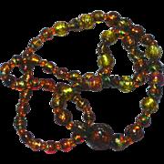 Bohemian Golden Art Glass Foil Glass Beads Necklace