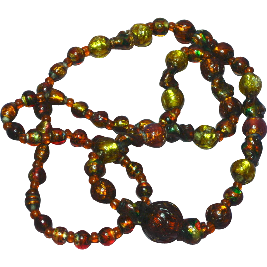 Bohemian Golden Art Glass Foil Glass Beads Necklace