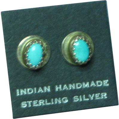 Native American Indian Turquoise Sterling Silver Stud Pierced Earrings