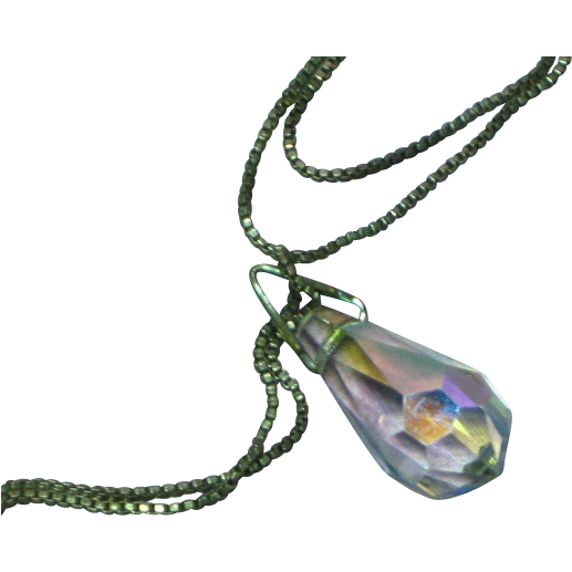 Faceted Lead Crystal Rainbow Prism Briolette Drop Dangle Négligée Necklace