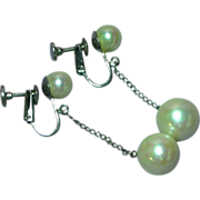Sterling Silver  Cultured Pearl Dangle Spring Screw  Earrings