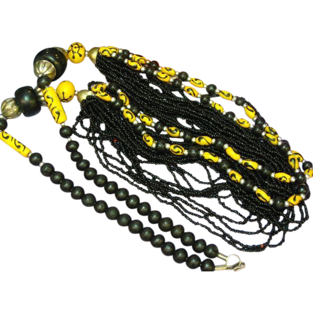 Naga Necklace Northeast India, Nagaland, Naga People Striking Black and Yellow Beads Necklace