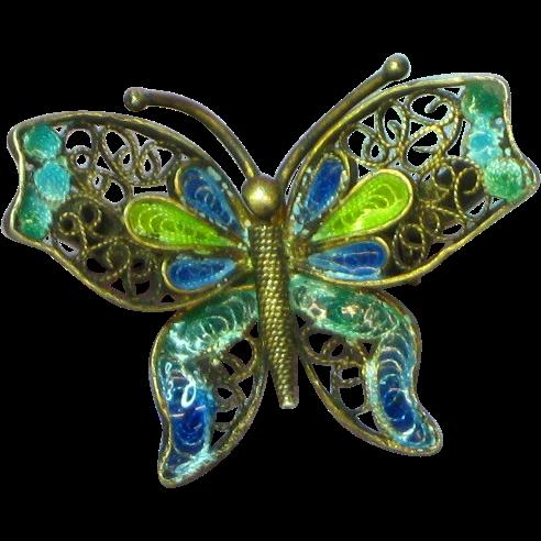 Plique à Jour Enamel Enchanting Butterfly Pin, 800 Silver