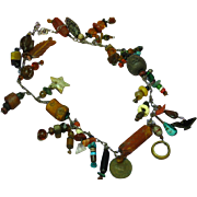 Trade Beads Ethnic Tribal Museum Quality Treasure Charm PrimitiveNecklace