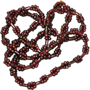 Gemstones Genuine Garnet Long Beaded Necklace