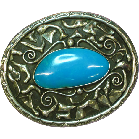 Native American Indian Signed Huge Sterling Silver & Chrysacola Southwestern USA Magnificent Mens Belt Buckle