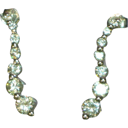 sterling silver rhodium plate diamonique earrings from