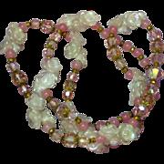 "Opaline Opalite Glass Spectacular Vintage 26""  Pinks Opaline Rose Quartz  Swarovski Crystal Necklace"