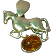 Amber Baltic Sterling Silver Horse Figural Pendant Charm