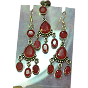 Balinese Sterling Silver Faceted Genuine Ruby Chandelier  Dangle Earrings and Pendant Set Demi Parure