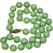 "Jade Green Vintage Estate Chinese Jadeite Jade 16"" Necklace"