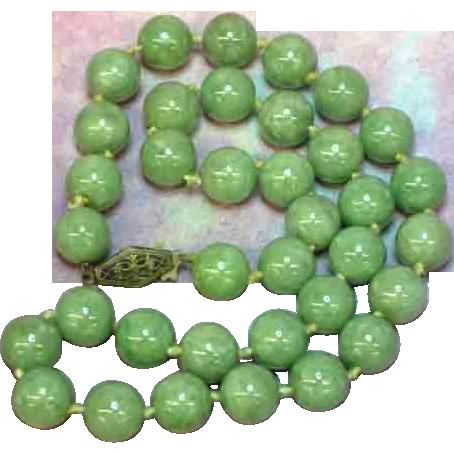 "Jade Green Vintage Estate Chinese Jadeite Jade 16"" Necklace"