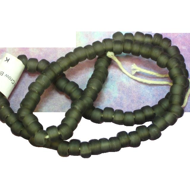 "50% OFF Art Glass Transparent Matte Gray Crow Beads Long 24"" Glass Necklace"
