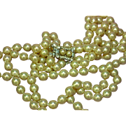 Vendôme Signed Vendome Vintage Double Strand Glass Hand Knotted Pearl Necklace Rhinestone Pearl Clasp