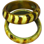 50% OFF Vintage Bone Animal Print Brass Bangle African Tribal Ethnic Set of 2 Bangle Bracelets