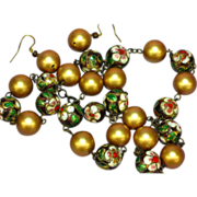 50% OFF  Cloisonne Chinese Bead & Gold Balls Necklace Earrings Set Demi Parure