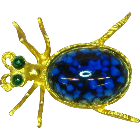 Van's Authentics Signed Blue Art Glass Cabochon Gold Bug Insect Pin Brooch