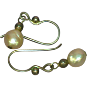 Akoya Baroque Creamy White Cultured Pearls Sterling Silver Pierced Earrings