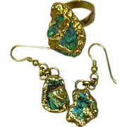 9K Gold  Turquoise Nugget Ring and Pierced Earrings Set Demi Parure