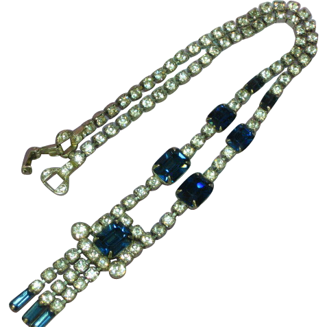 Astra Signed Rhinestones Sapphire Blue and Clear Necklace