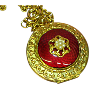 "Guilloche Red Enamel Double Locket 24"" Necklace"