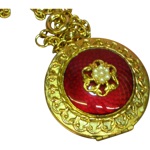 "Guilloche Red Enamel Double Locket 24"" Necklace"