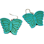 Turquoise Color Fantastic Large Butterfly Pierced Earrings