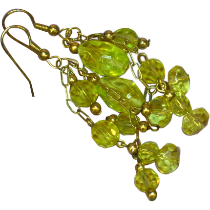 Gemstones Vaseline Glass Faceted Citrine Dangle Cluster Pierced Gold Filled Earrings