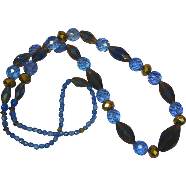 Fabulous ARUM GOLD Crystal Vintage Estate Necklace with Blue and Gold Faceted Givre Glass Beads