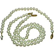 14K Marked Clasp Stunning White ,Hand Knotted Cultured Pearls Necklace and Bracelet Set
