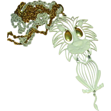 50% OFF SALE Alan Signed Articulated White Enamel Lion Necklace with Original White and Gold tone Chain Pendant Necklace.