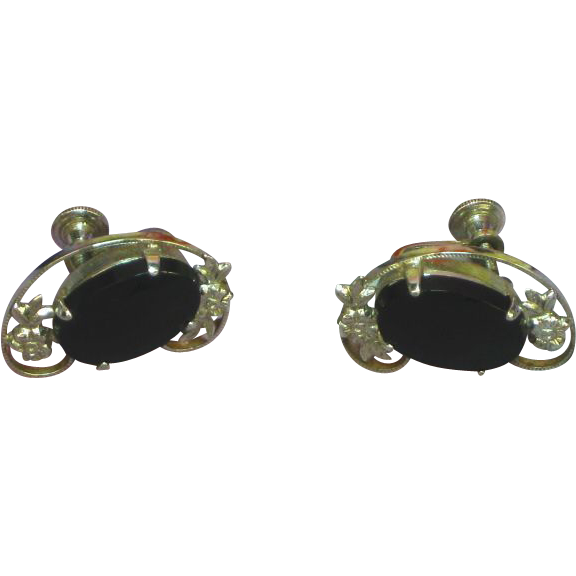 Onyx Sterling Silver Screw Back Earrings