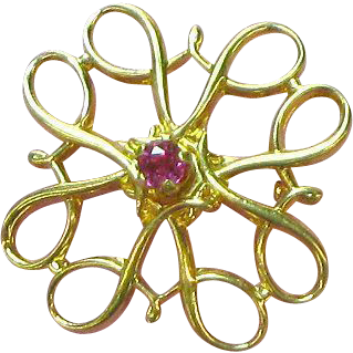 10K Yellow Gold Genuine Ruby Radiant Petite Pin