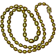 "SALE!  Stunning 24"" Matinee Length Genuine Cultured Golden Pearl and Gold Filled Findings Vintage Necklace"