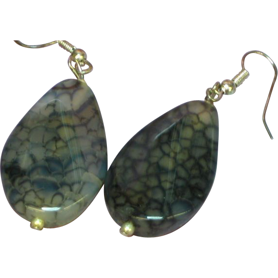 Genuine Stone Sterling Silver Translucent Black Brown Dragon Vein Agate Pierced Earrings