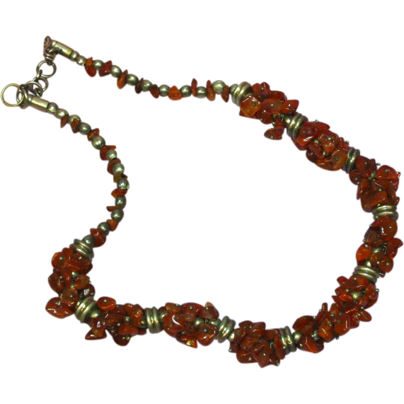 "50% OFF Carnelian Nuggets Chips Chunks Wired Silver 16"" Necklace"