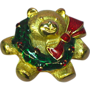 50% OFF Enamel Christmas Teddy Bear Wreath Bow Pin Brooch