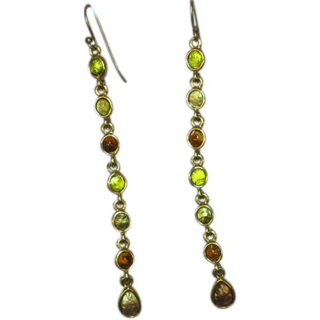 Long Dangle Art Glass Foil Cabochon Pierced Earrings