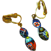 Vintage Millefiori Murano Glass Dangle Drop Clip Earrings