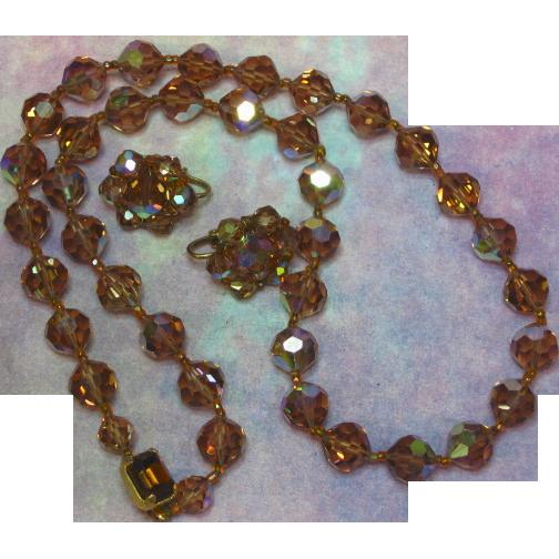 Rare Golden Topaz A/B Mink Swarovski Crystal Necklace Earrings Set Demi-Parure